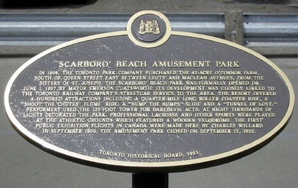 Scarboro Beach Park Plaque